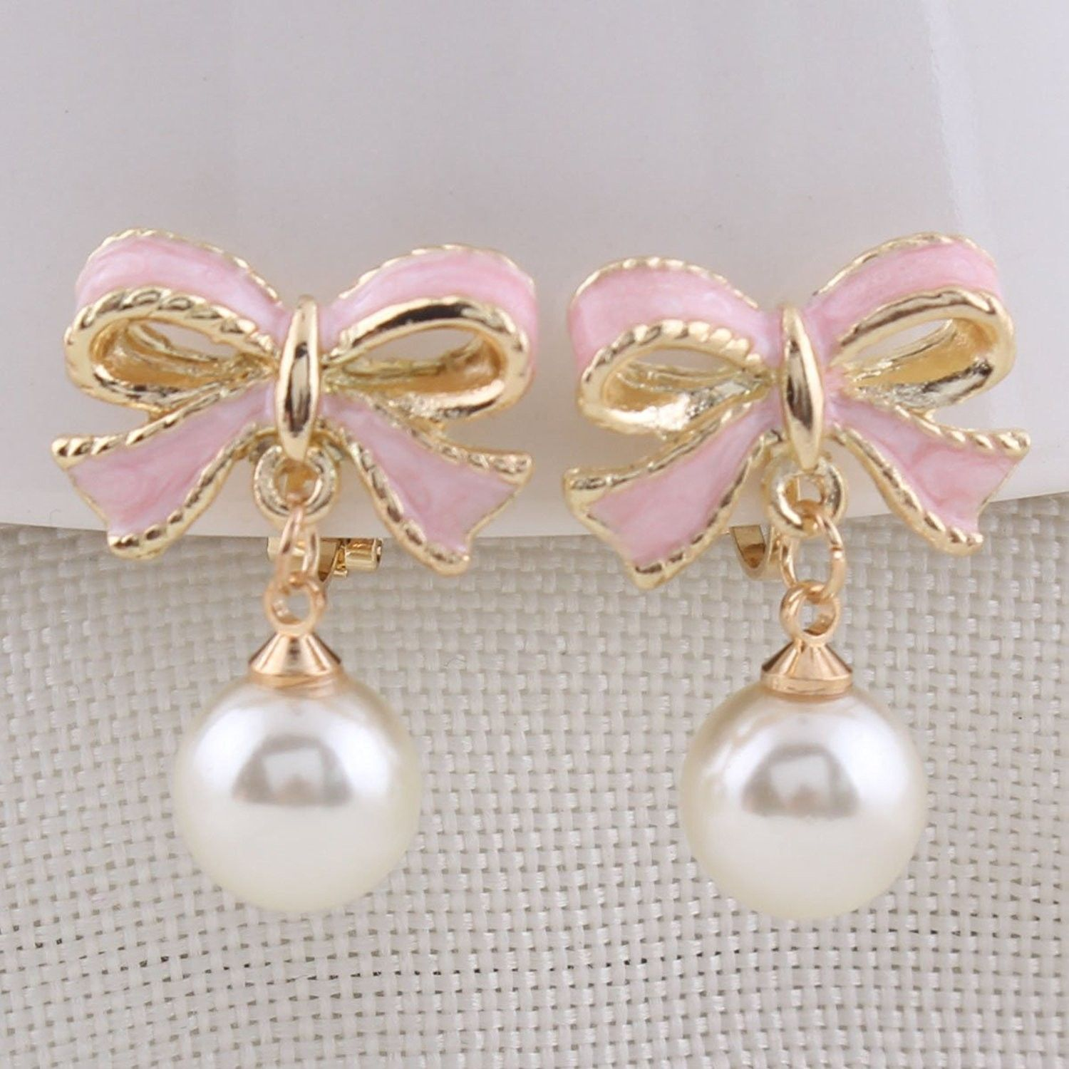 Pink Bowknot Shape Clip on Earrings Without Piercing for