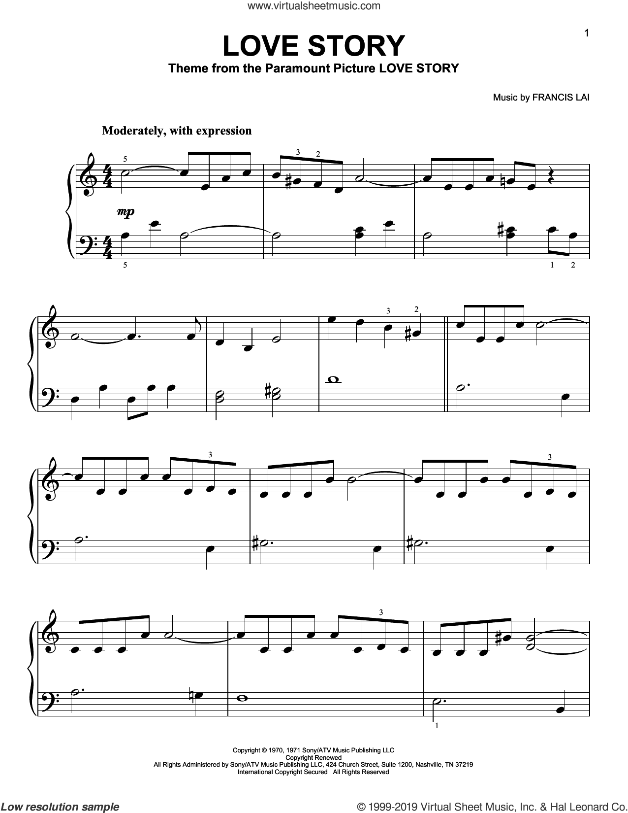 Lai Love Story Easy Sheet Music For Piano Solo Pdf Piano Sheet Music Sheet Music Piano Sheet Music Free