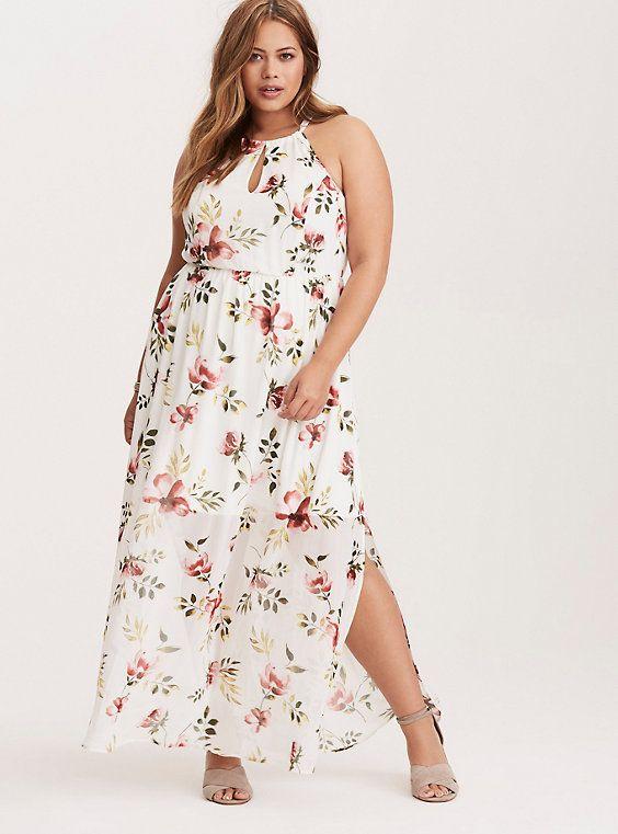 120de7e53e1 White Floral Keyhole Cutaway Maxi Dress (Short Inseam Now Available ...