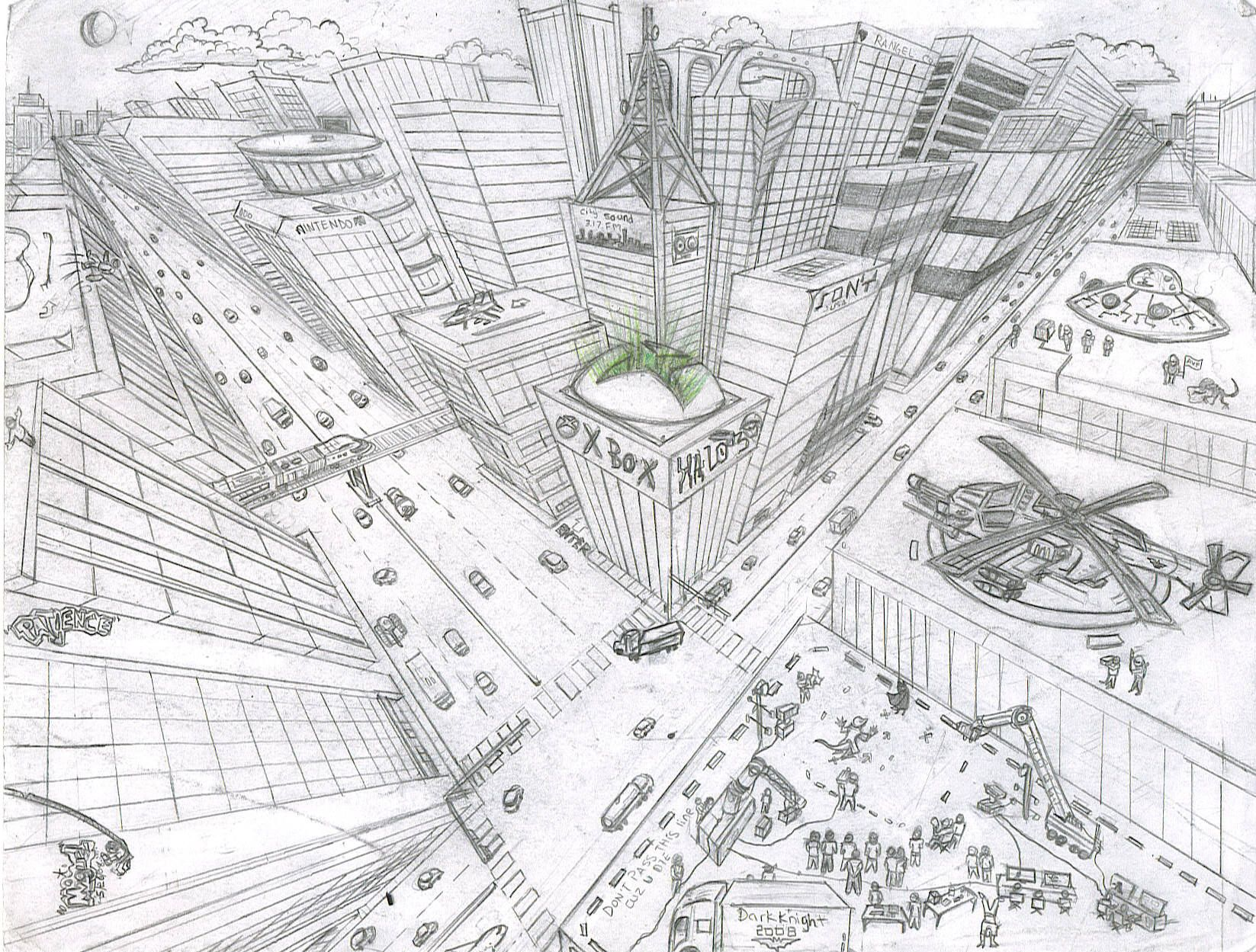 city in 2 point perspective well staring from there i began to