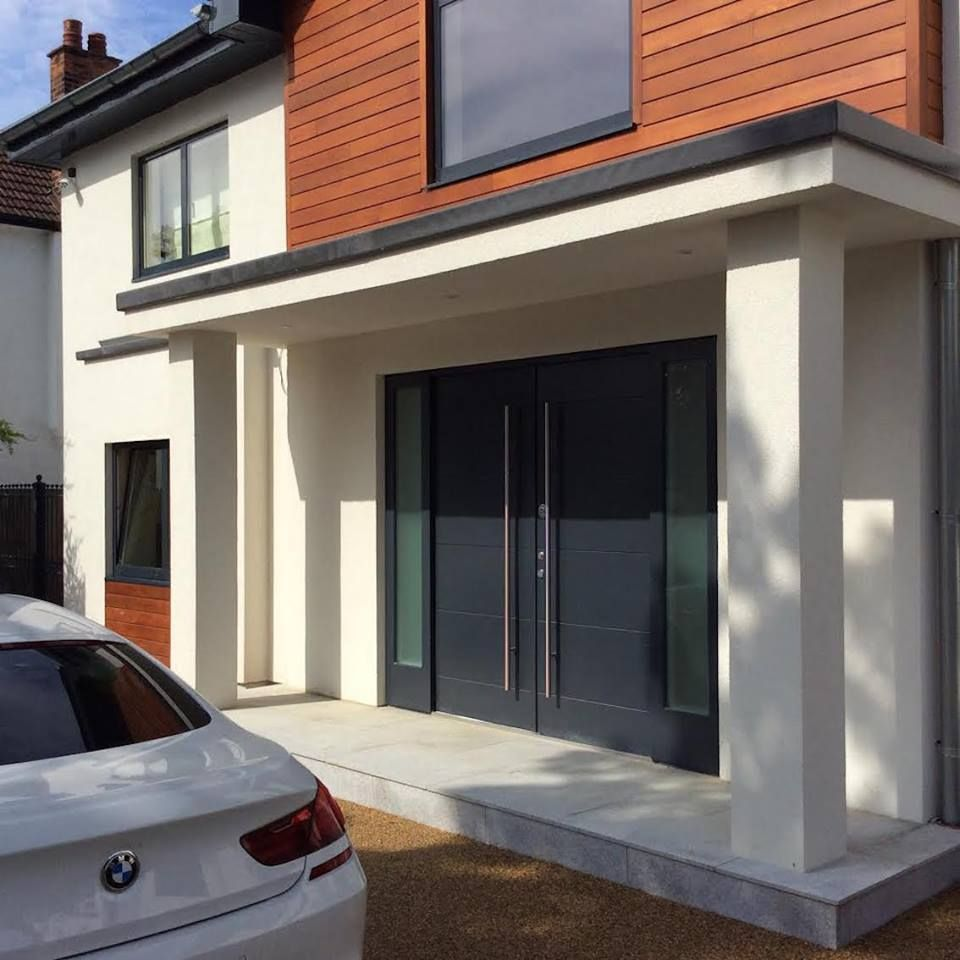 Anthracite grey modern double door with 2 side panels