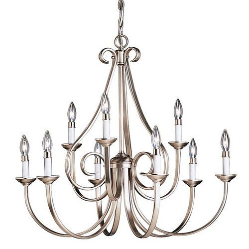 Kichler Dover 9 Light 33 Wide Candle-Style 2-Tier Chandelier - Brushed Nickel 🌀💠🌀💠Rugs / Area Rugs : More At FOSTERGINGER @ Pinterest 🌀💠🌀💠