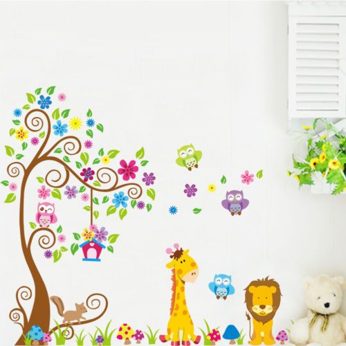 Giraffe lion owl colorful tree wall stickers for kids room animal wall decal cartoon wall art bedroom home decoration safari diy