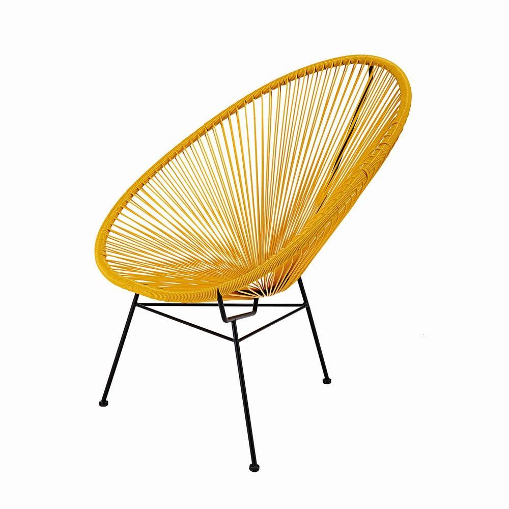 Fauteuil En Fil De Résine Tendu Moutarde Et Métal Noir Birthdays - Formation decorateur interieur avec petit fauteuil moutarde