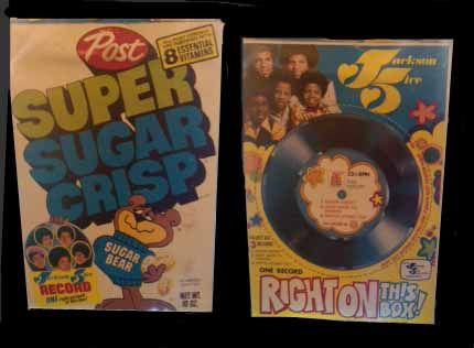 Your favorite cereal with your favorite cheap plastic 45 record on the back. Cut it out and its good to play!