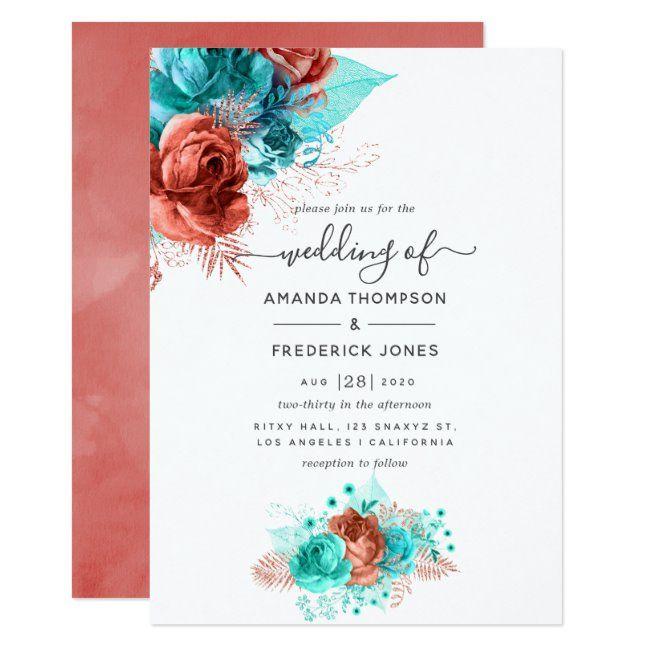 Turquoise & Coral Watercolor Floral Wedding Invitation | Zazzle.com