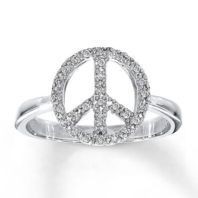 Peace Sign Ring 1 10 Ct Tw Diamonds Sterling Silver Want