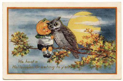 Vintage Halloween Image - Cute Pumpkin Boy with Owl - The Graphics Fairy