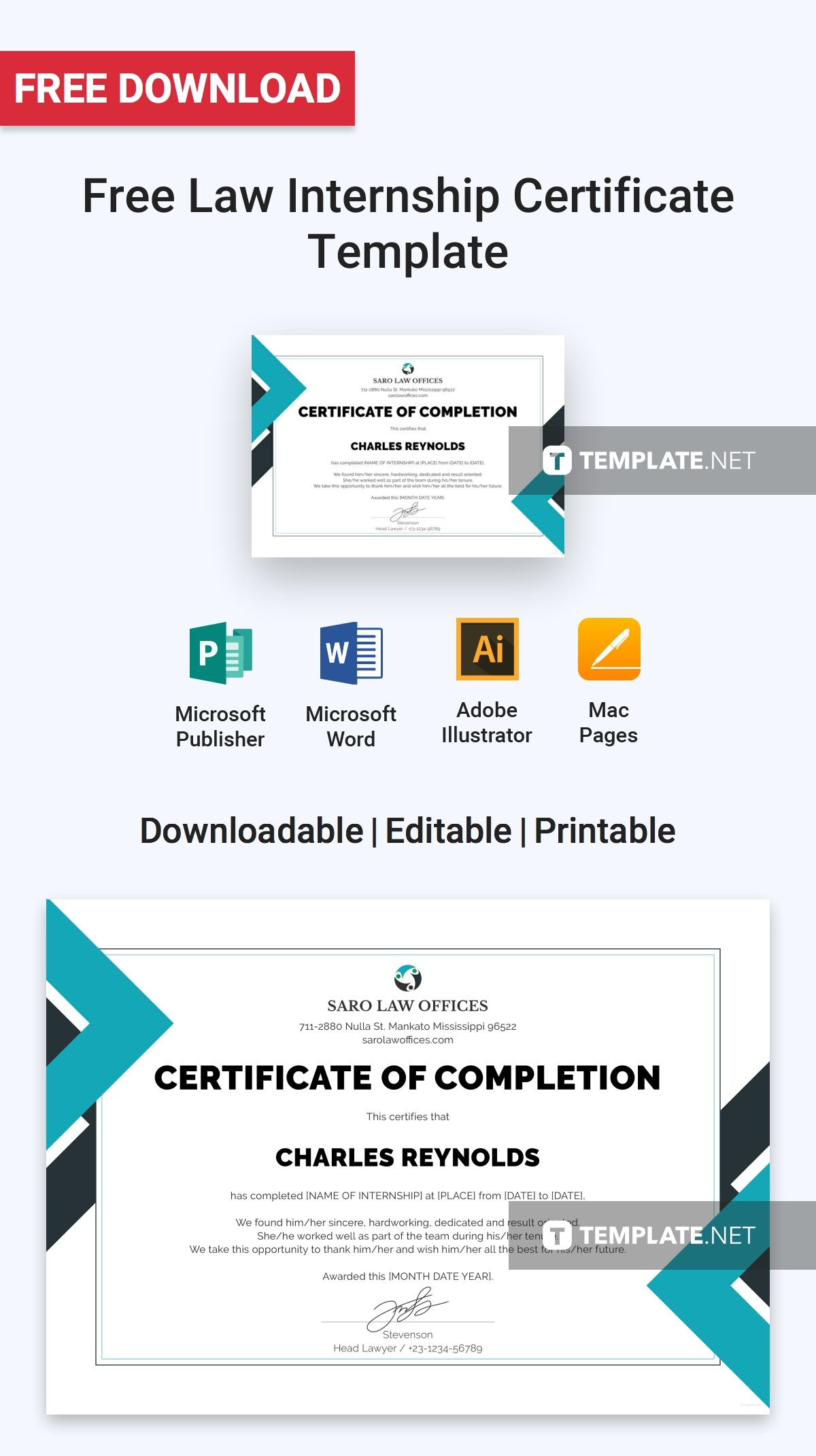 Free law internship certificate free certificate templates free law internship certificate template thecheapjerseys Images