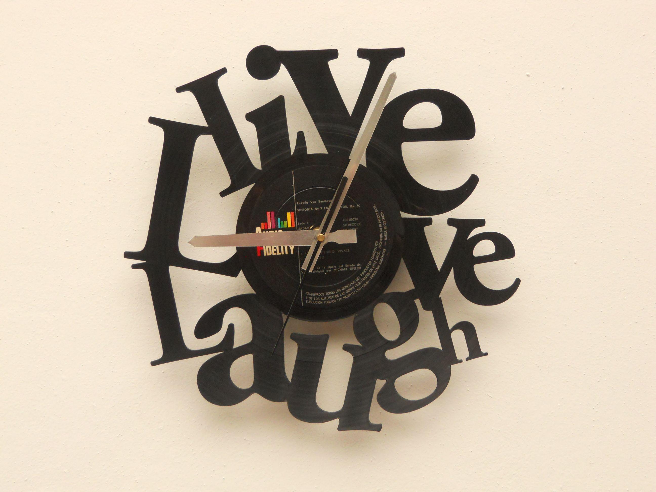 Reloj de pared calado en disco de vinilo laser cutting - Mecanismo reloj pared barato ...