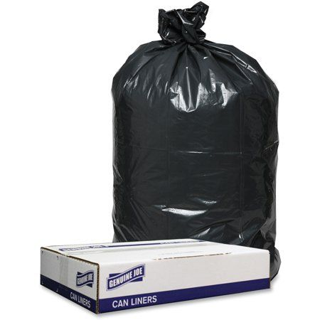 Genuine Joe Gjo98209 1 2mil Black Trash Can Liners 100 Carton Black Trash Bag Garbage Can Bags