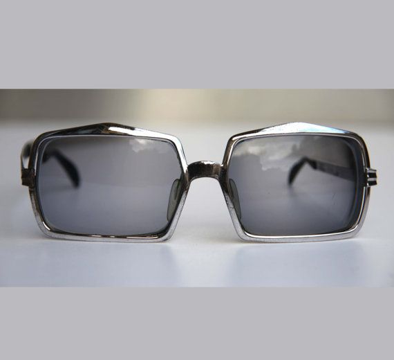 1a797f4e94 60s Eye Glasses Sunglasses Oversize Square Elvis Chrome Thick Metal Frames  by Silhouette
