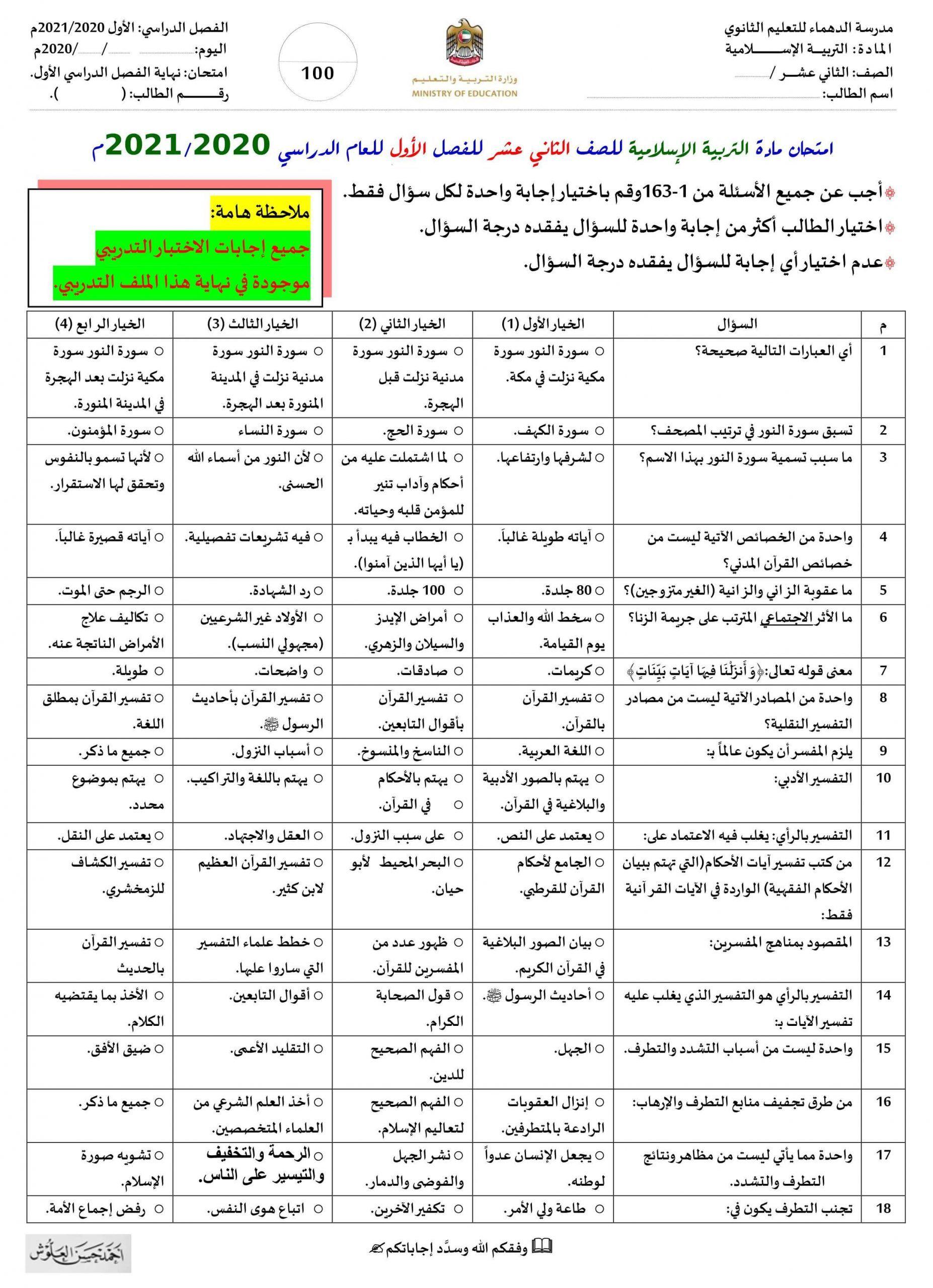 حل الاختبار التدريبي الصف الثاني عشر مادة التربية الاسلامية Abs