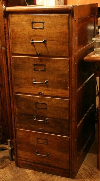 Antique 4 Drawer Oak Legal File Cabinet By Wabash Cabinet Company   Aurora  Mills Architectural