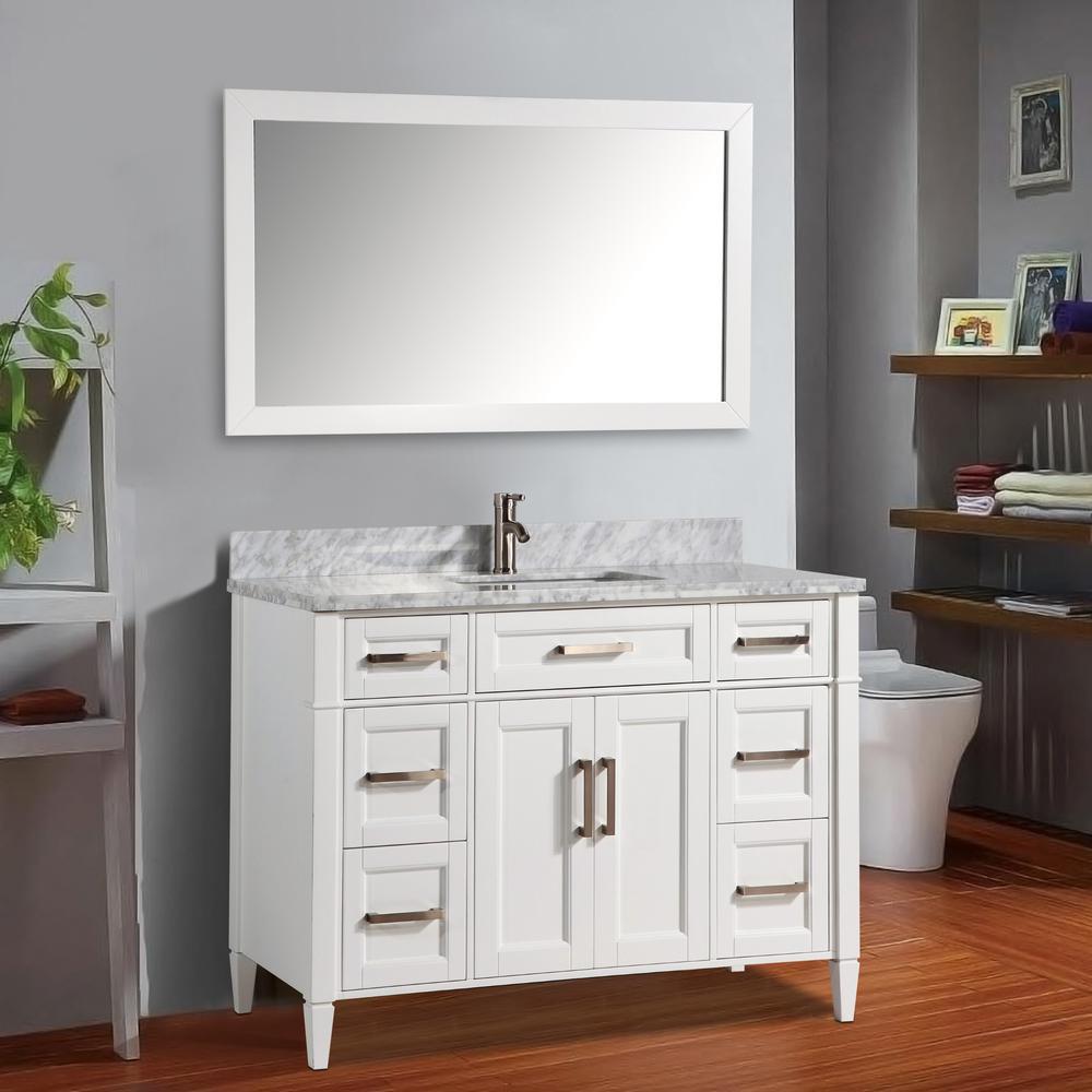Vanity Art Savona 60 In W X 22 In D X 36 In H Bath Vanity In White With Vanity Top In White With White Basin And Mirror Va2060sw The Home Depot [ 1000 x 1000 Pixel ]