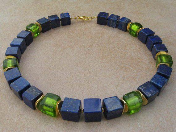 Collar de cubo de lapislázuli, cadena de cubos, collar de piedras preciosas, joyas de piedras preciosas