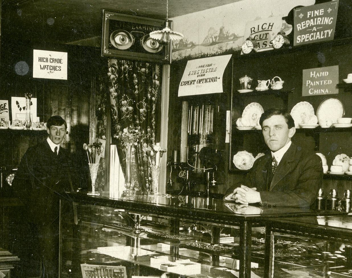Dr. Harold Snell and A.B. Mitchell in the jewelry store