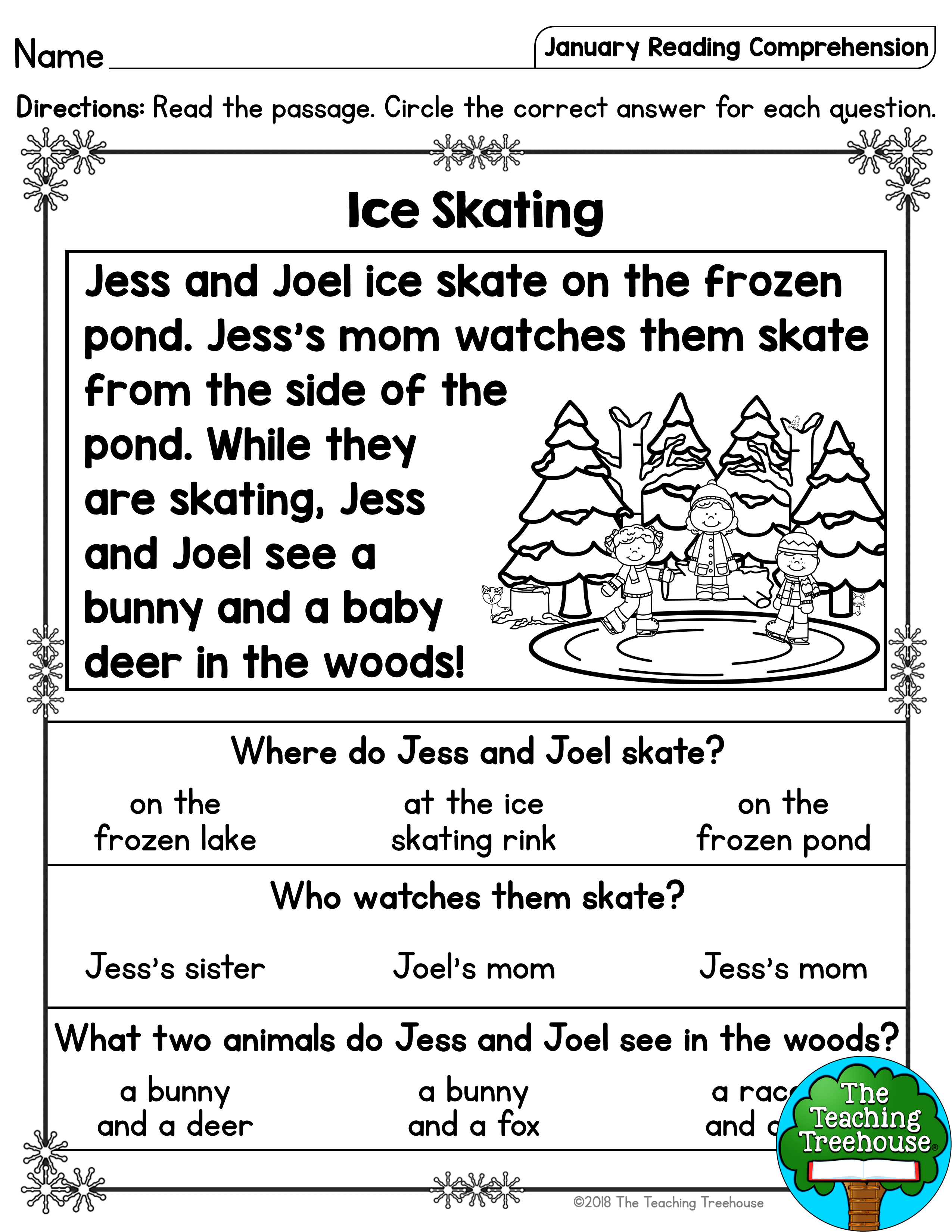 I hope that your students will enjoy these no prep January the…   Reading  comprehension lessons [ 3300 x 2550 Pixel ]