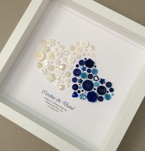 This Personalised 2 Hearts Shire Anniversary On Art Makes The Perfect Gift To Celebrate 45 Years Of Marriage Made Using Ons And Embellishments