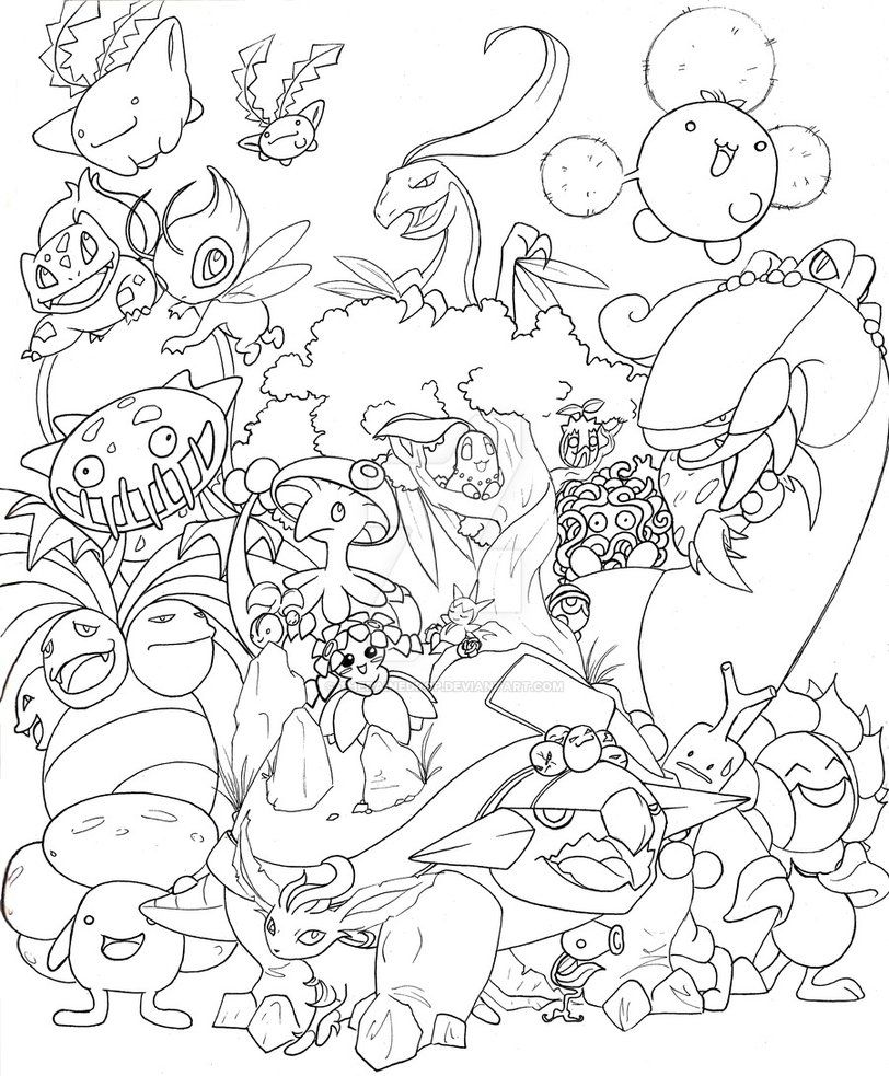 grass pokemon lines - Grass Type Pokemon Coloring Pages