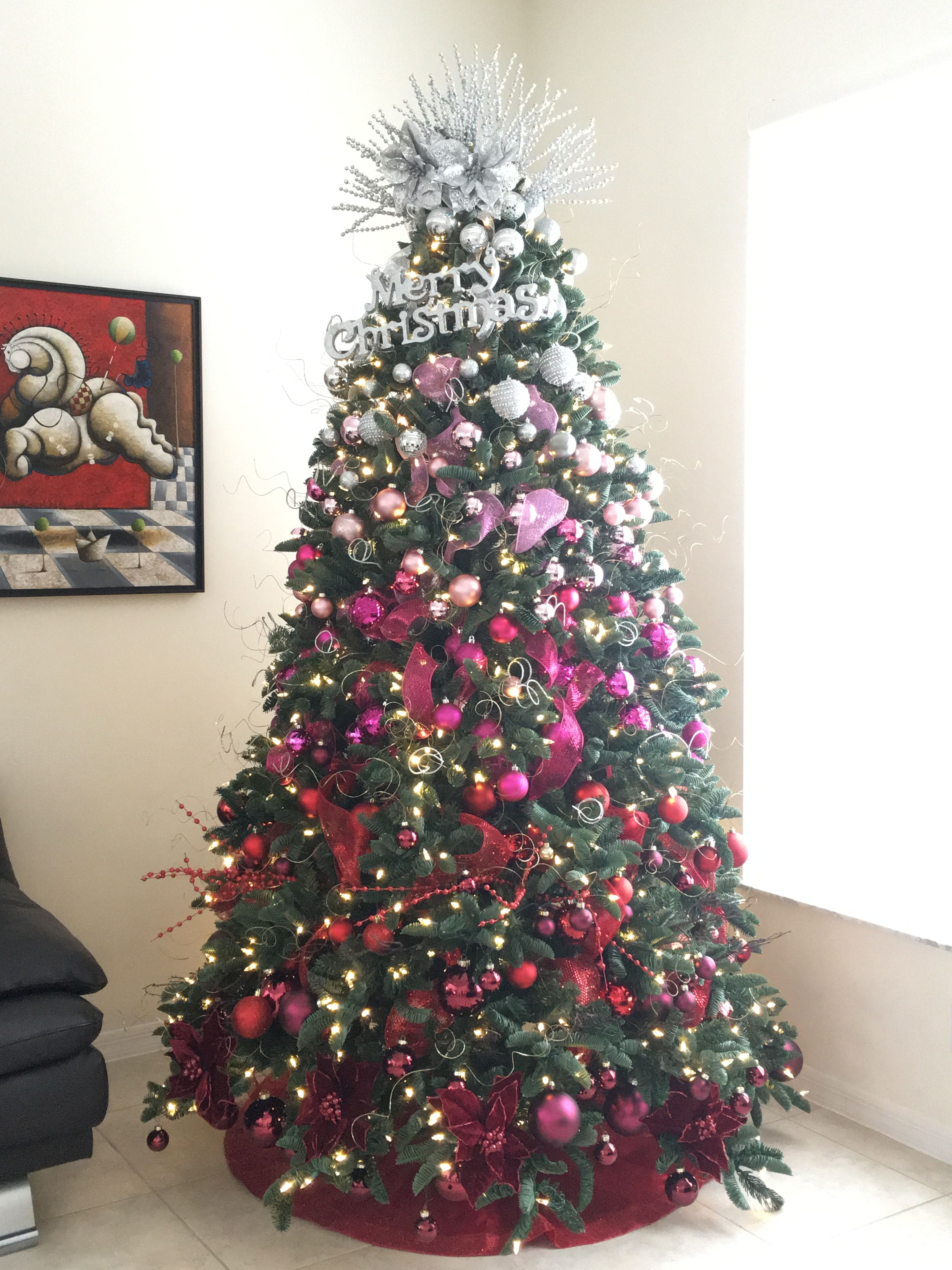 Ombré Red Pink And Silver Christmas Tree