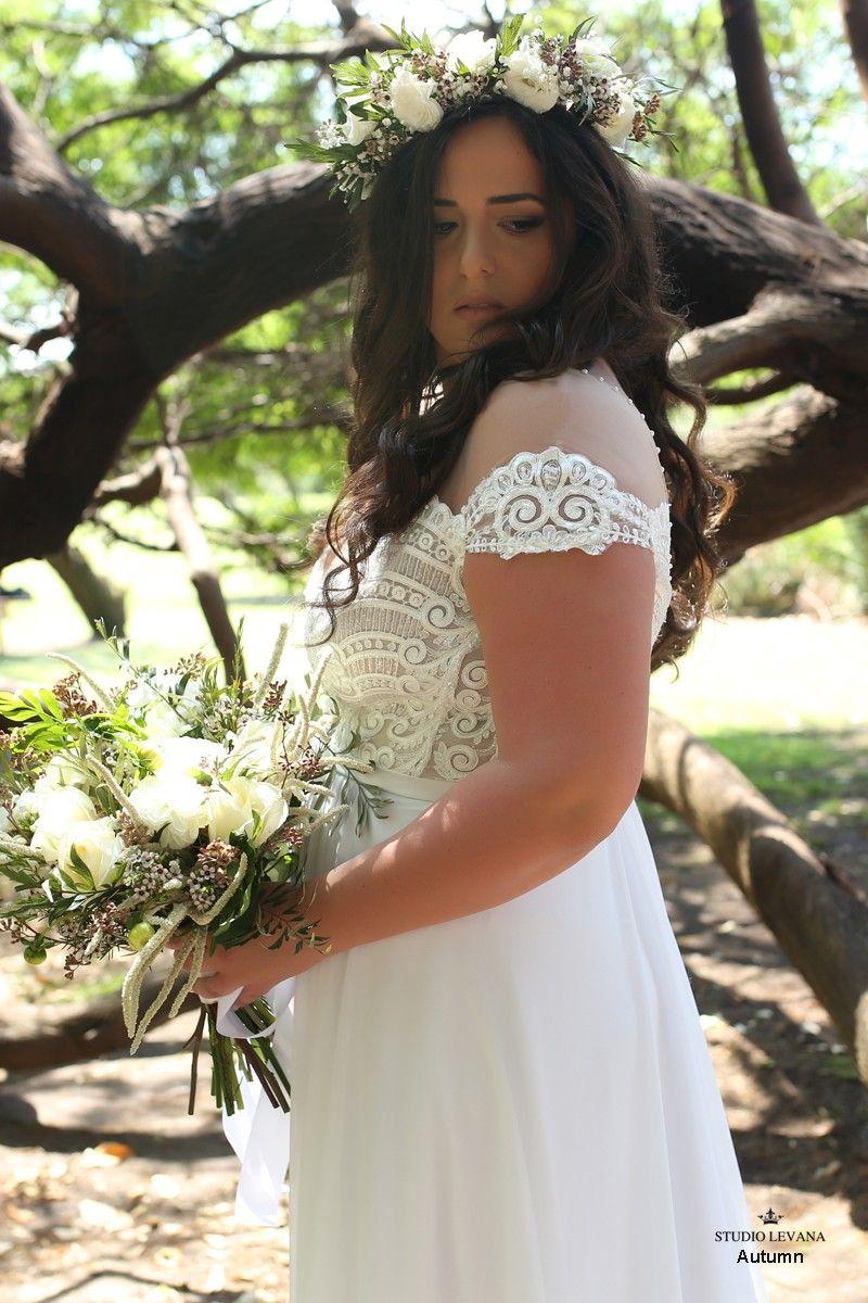 Plus size off shoulder sleeves bohemian wedding gown autumn studio