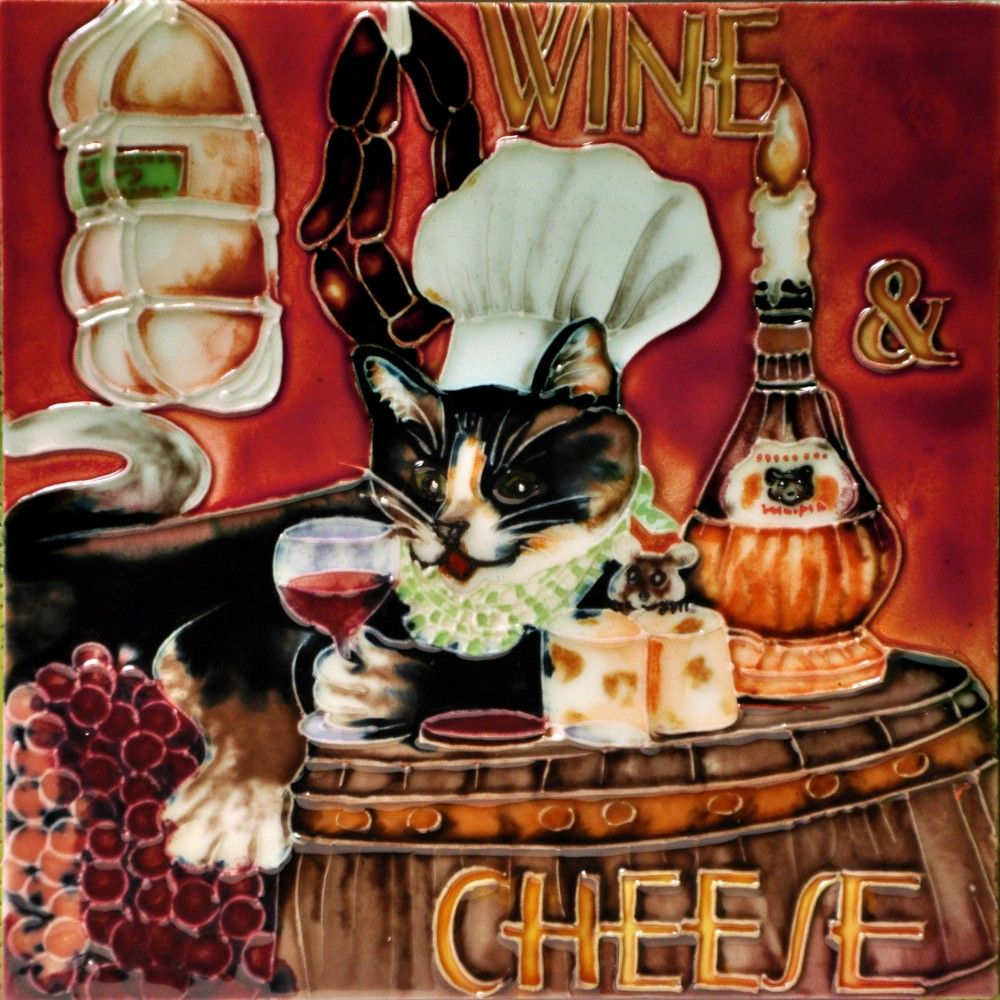 8 X8 Wine Cheese Chef Cat Chef Cats Wine Cheese Cats