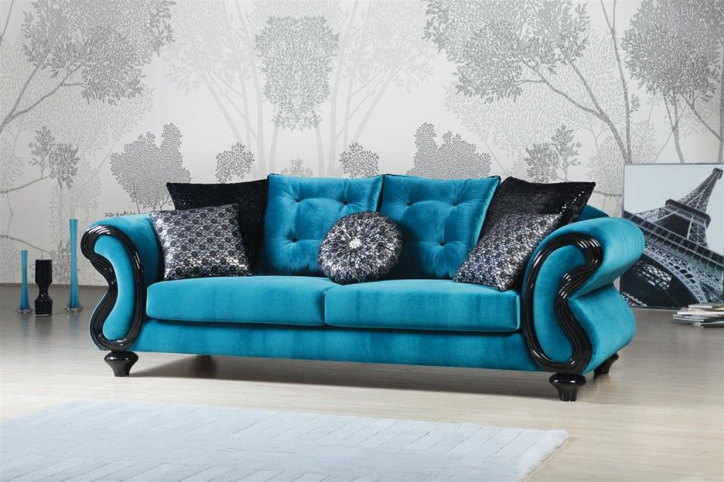 Furniture Design, Blue Light And Soft Black Color With Good Wall And Floor  Great Good Looking Beautiful Comfortable Sofa Nice Design Art Ideas  Important ...