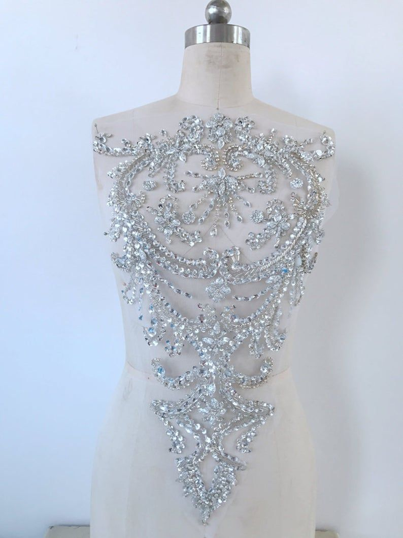 Handmade Silver Crystal Patches Sequins Rhinestones Applique Etsy Lace Applique Wedding Dress Beaded Lace Fabric Beaded Applique