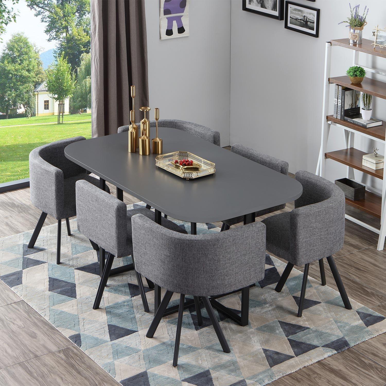 table et chaises oslo xl gris et tissu