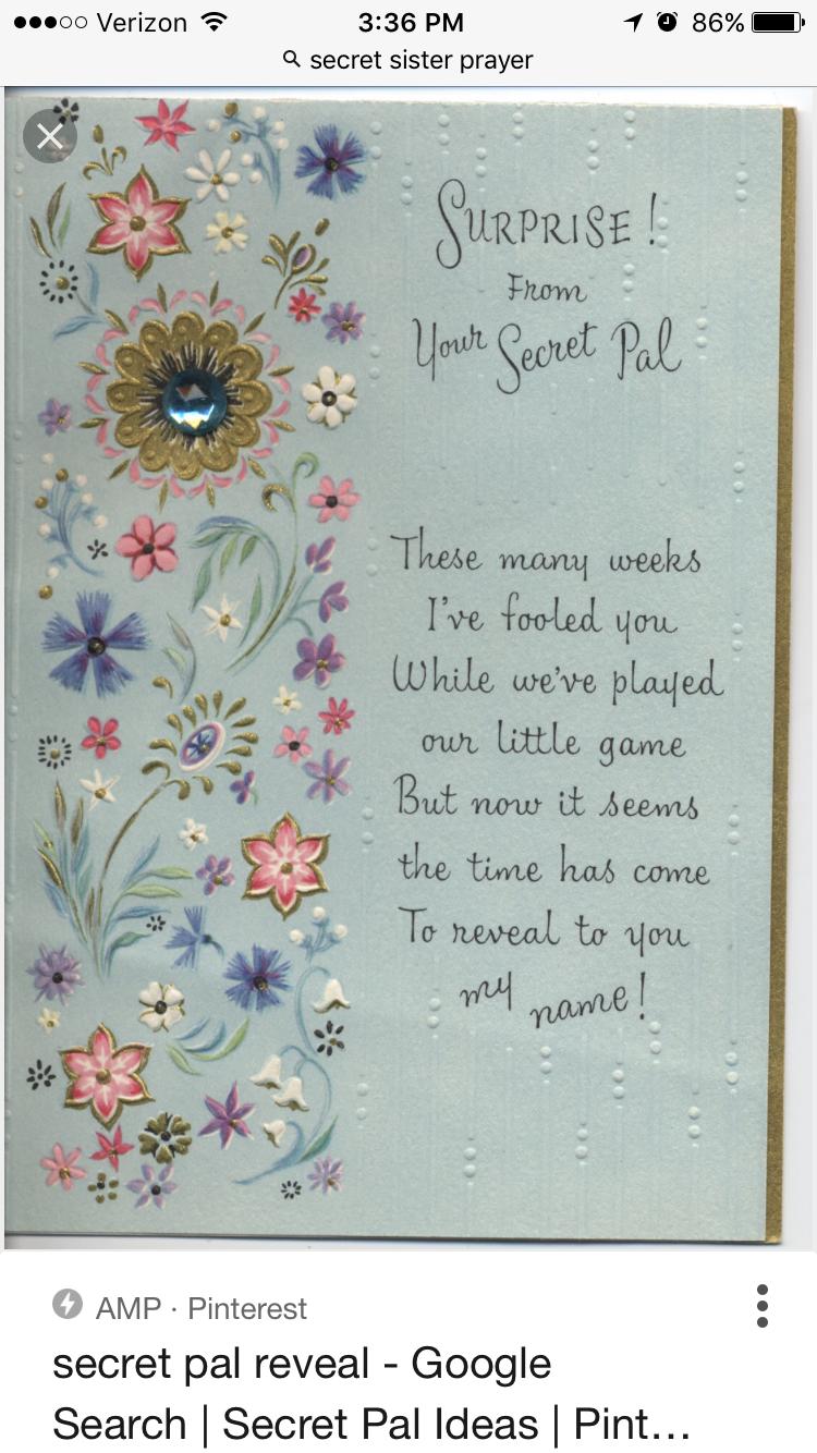 Secret sister reveal poem