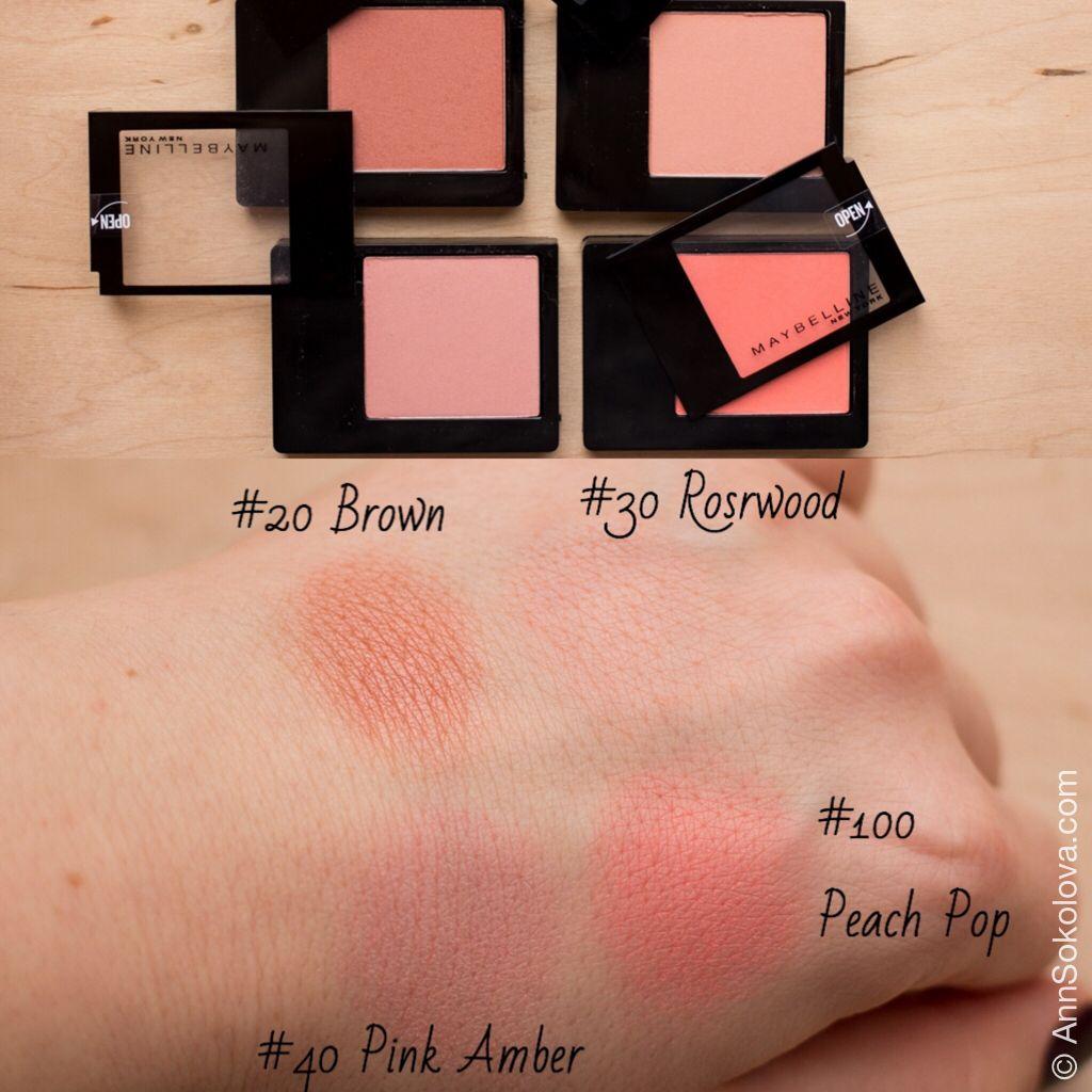 Maybelline Blush 20 Brown 30 Rosewood 40 Pink Amber 100 Peach Pop Makiyazh Kosmetika Rumyana