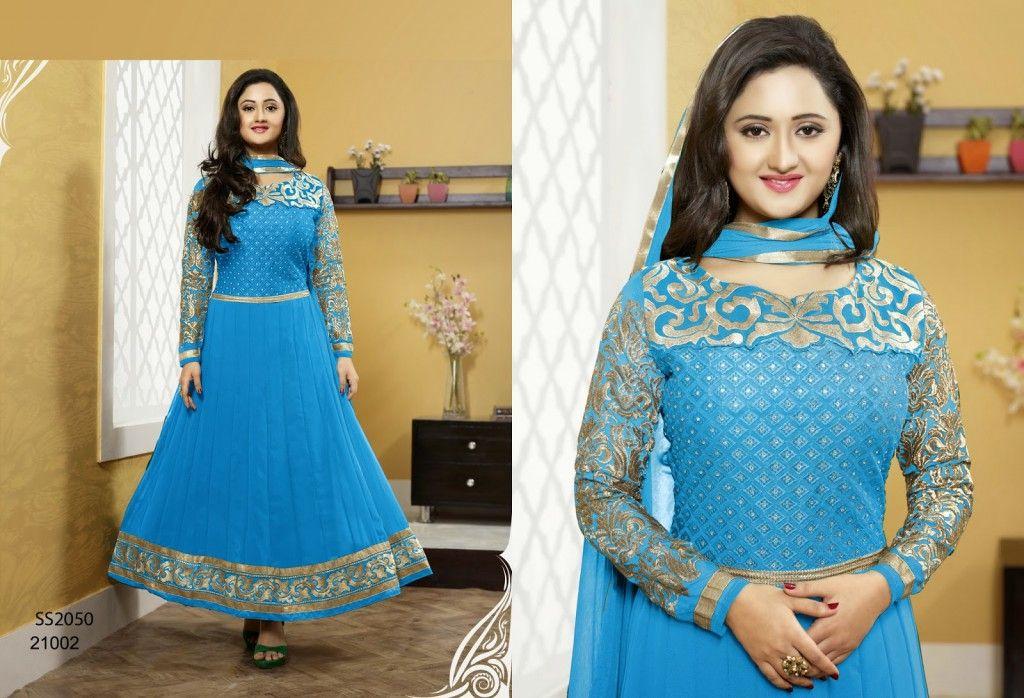 949e9ba394 Rashmi Desai Neck Embroidered Long Anarkali frock - Sari Info ...