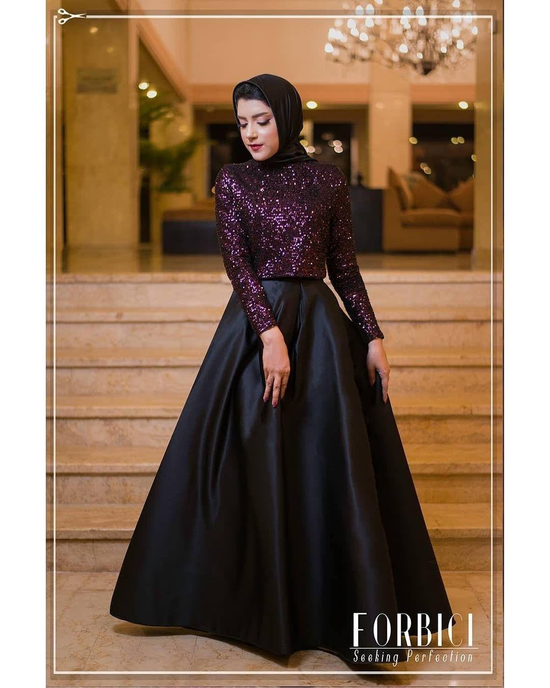Black Purple Hijab Night Dress Hijab Dress Party Soiree Dress Fashion Dresses