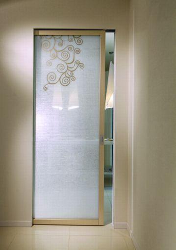 Porta scorrevole in tessuto in legno in vetro for Porte d arredo in vetro