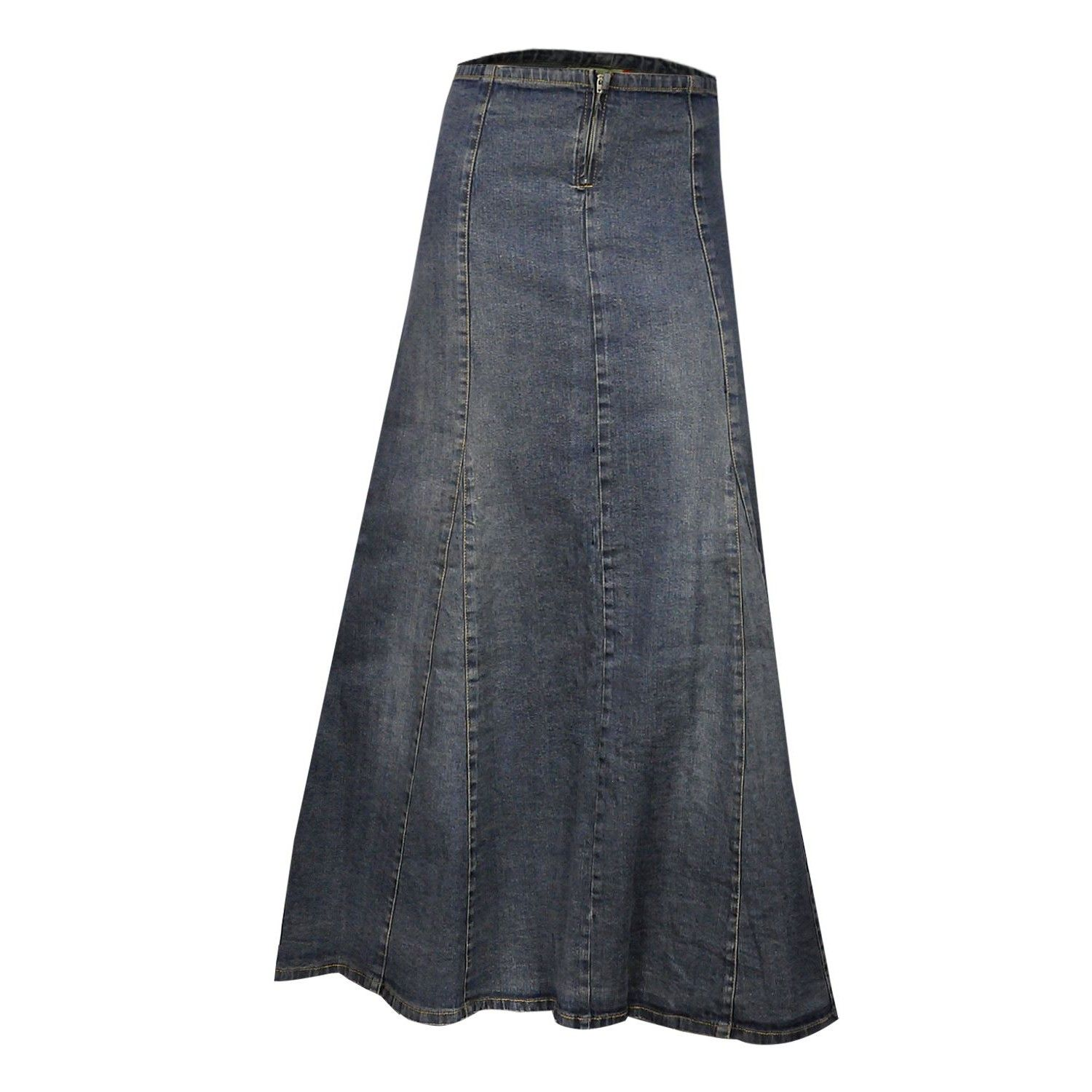 A line blue stretch denim ankle length maxi skirt plus size