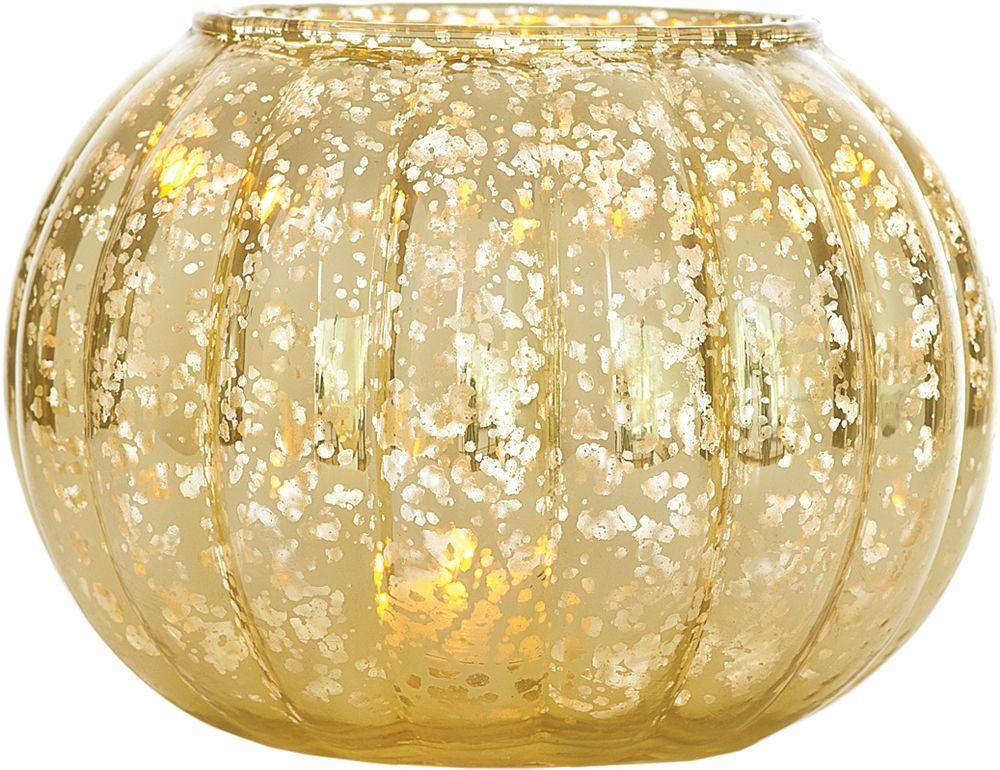 Vintage Mercury Glass Vase Or Candle Holder 5 Inch Ribbed Design