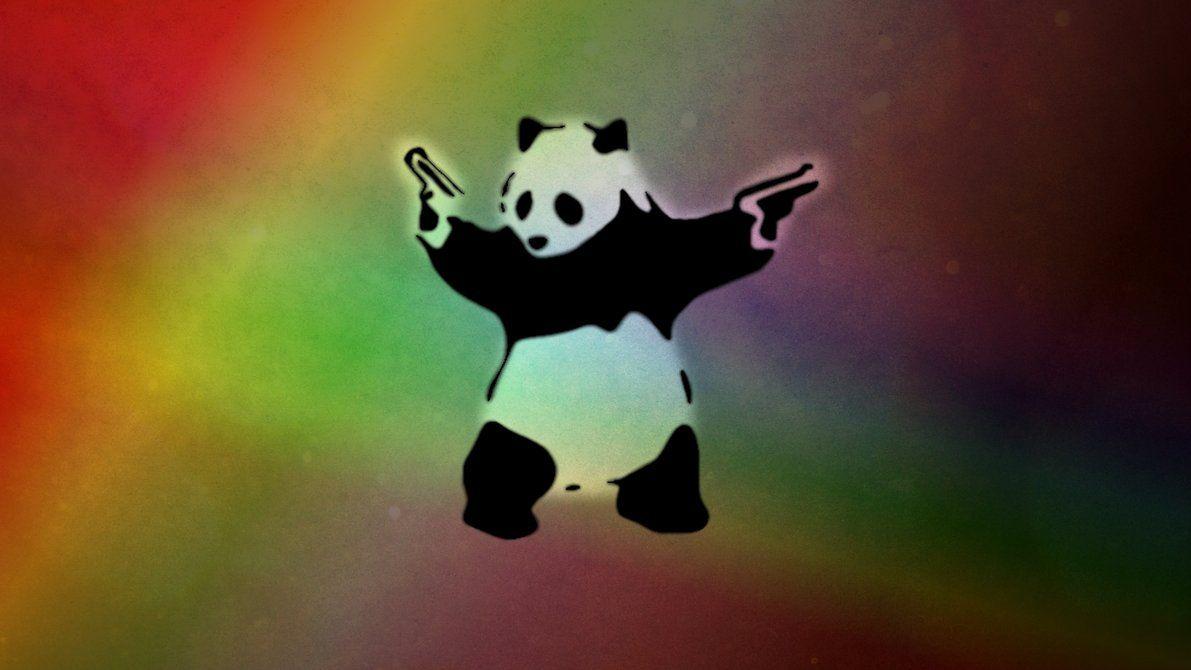 Bad Panda Panda Background Panda Illustration Guns Wallpaper