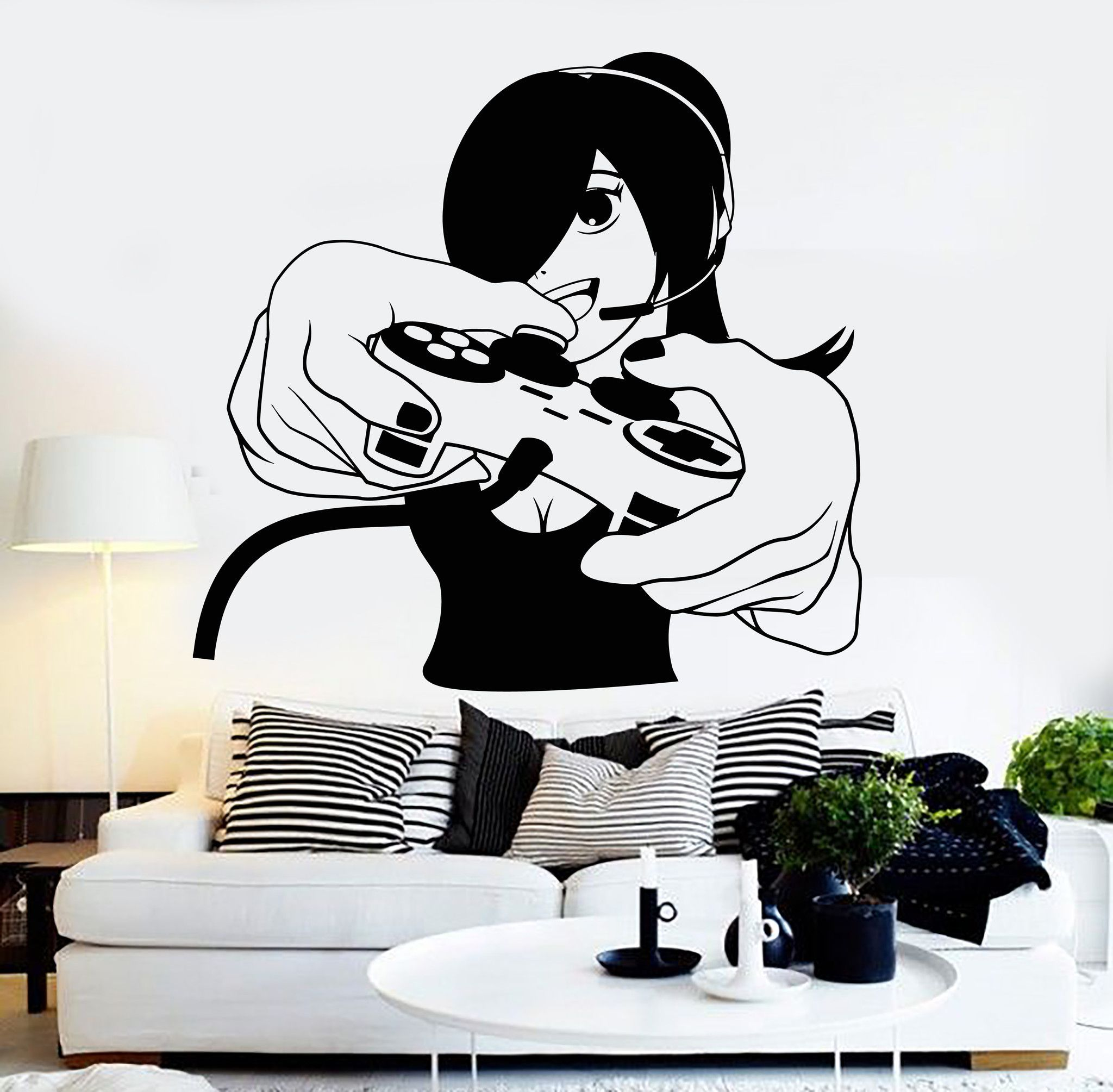 Vinyl Wall Decal Gamer Girl Video Game Play Room Gaming