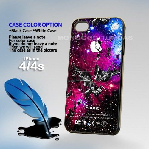 Galaxy Nebula Cracked, Print on Hard Cover iPhone 4/4S Black Case | MonggoDiTumbas - Accessories on ArtFire