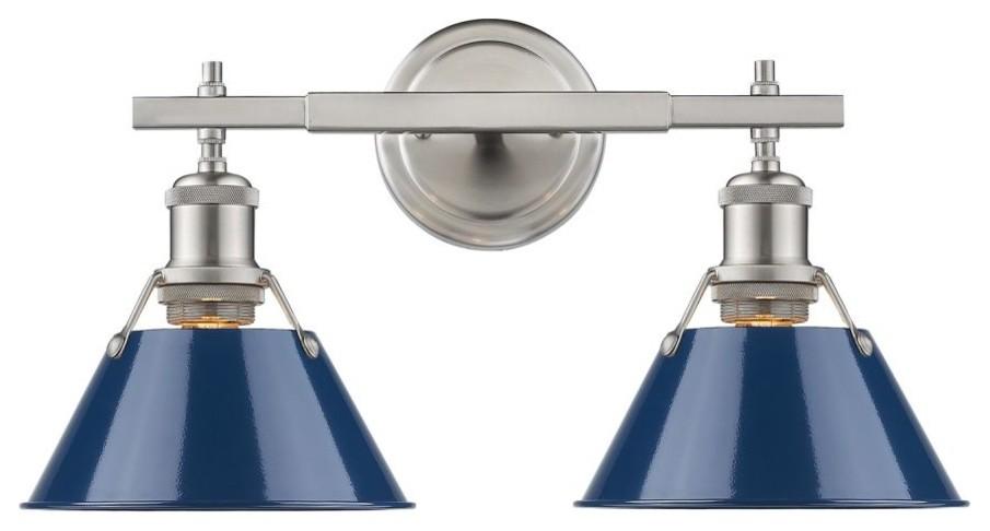 2 Light Brushed Nickel Bath Light With Navy Blue Shade Contemporary Bathroom Vanity Lighting By D In 2020 Vanity Lighting Industrial Vanity Light Golden Lighting