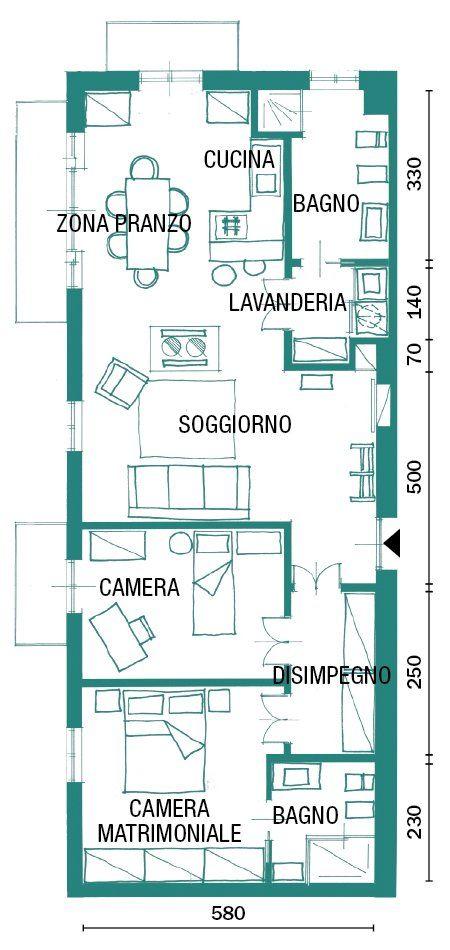 Una casa industrial style 90 mq di tendenza planimetrie - Pianta casa 90 mq ...