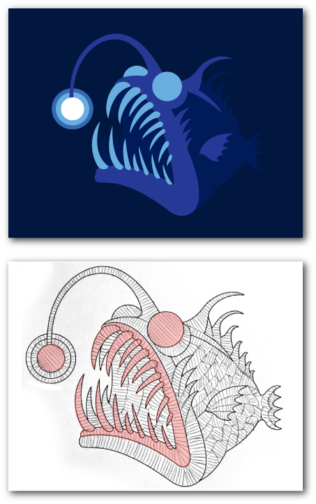 GlowfishBTS7 Glow fish, Sports logo, Doodles