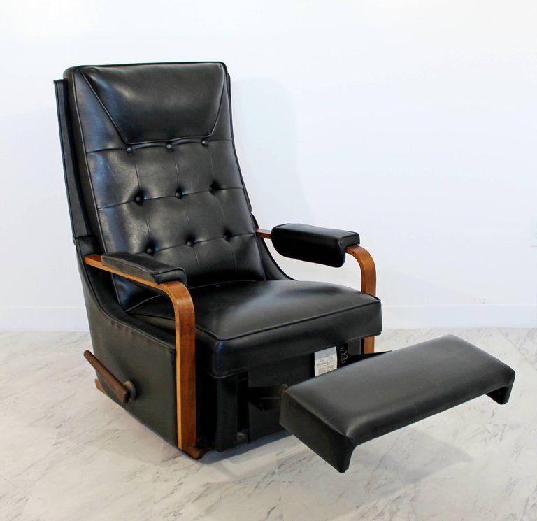 American Mid Century Modern Vintage Classic Lazy Boy Rocker Recliner Walnut Leather 1960s For Sale Rocker Recliners Recliner Reclining Rocking Chair