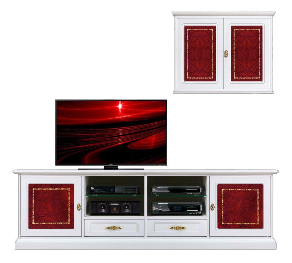Composizione parete soggiorno inserti in pelle mobili for Parete rossa soggiorno