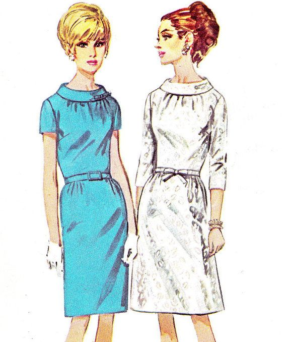 Cowl Neckline Wedding Gown Pattern: 1960s Dress Pattern Simplicity 6799 Mod Cowl Neck By