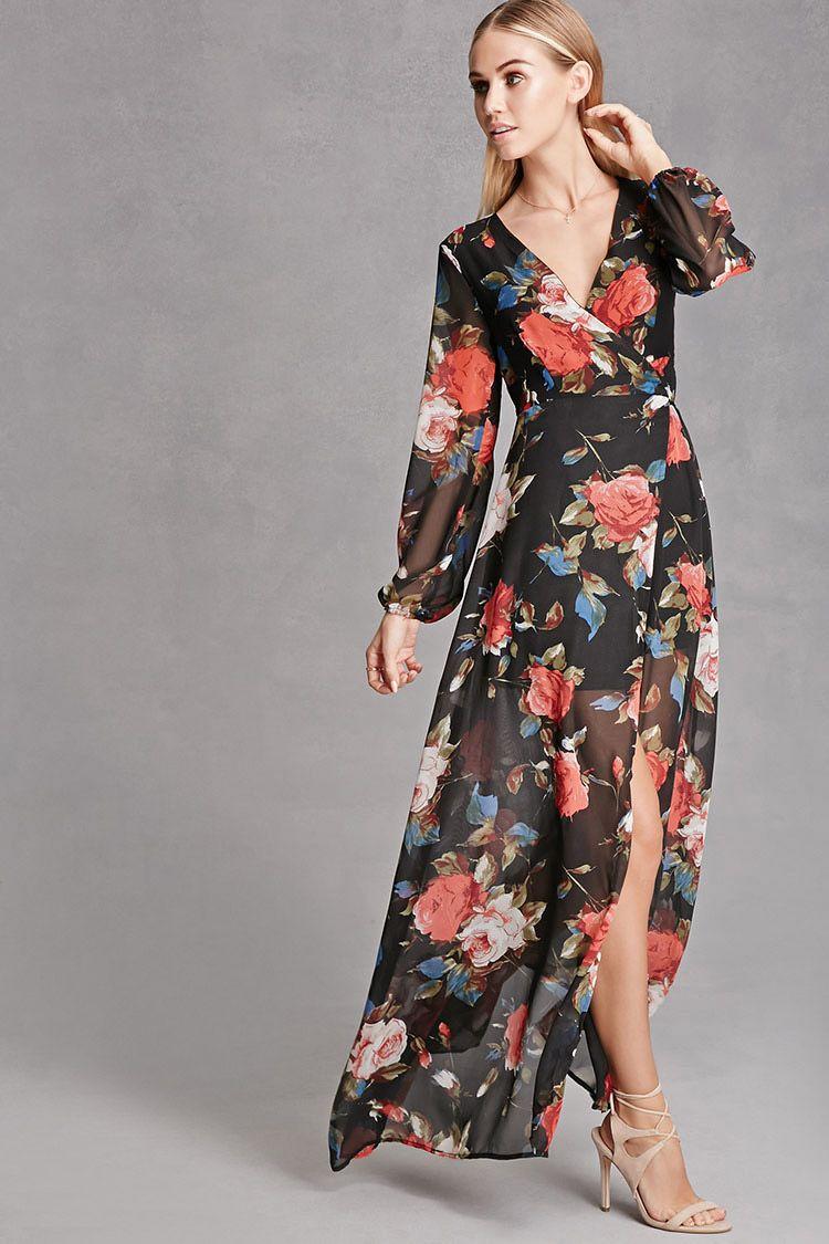 Reverse floral wrap maxi dress bridesmaids pinterest maxi
