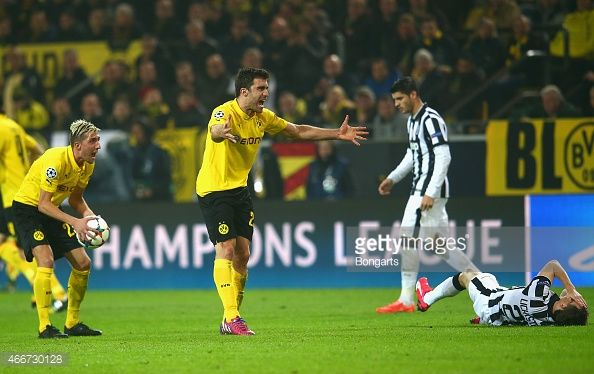 Sokratis Papastathopoulos Of Borussia Dortmund Reacts