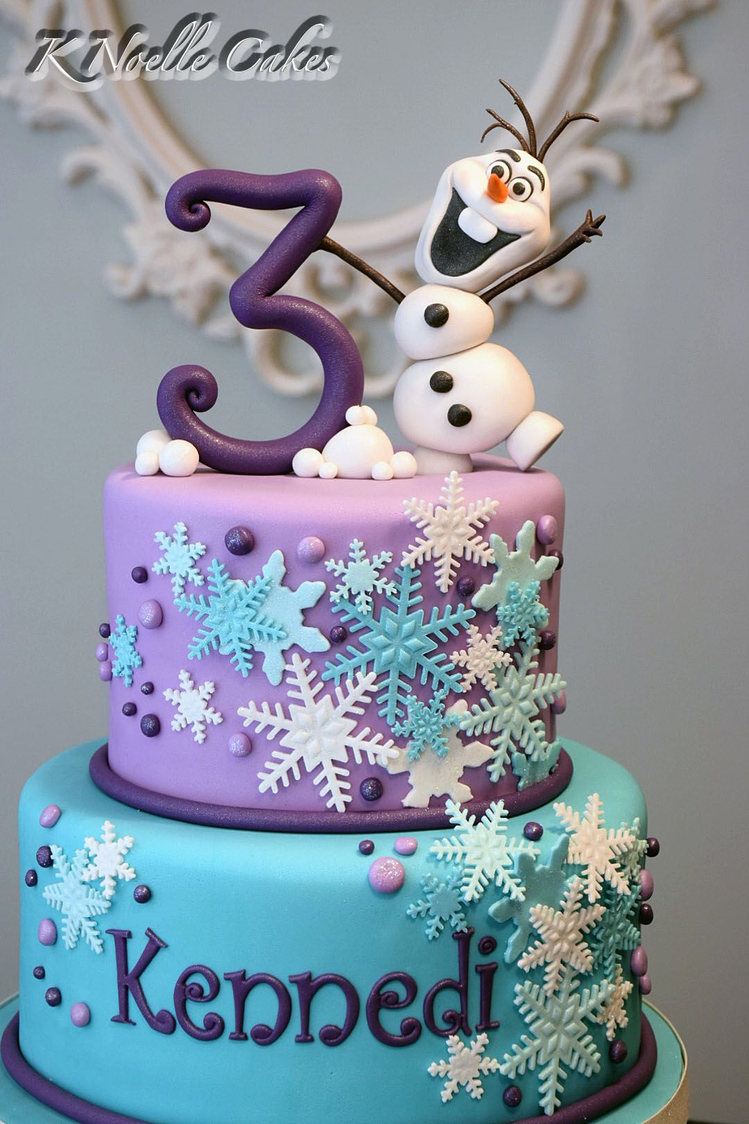 Swell Frozen Theme Cake With Olaf By K Noelle Cakes Tortas Frozen Birthday Cards Printable Opercafe Filternl