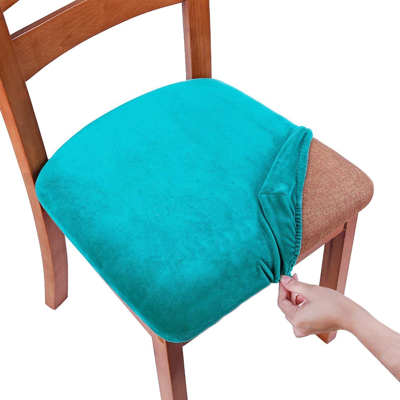smiry Original Velvet Dining Chair Seat Covers